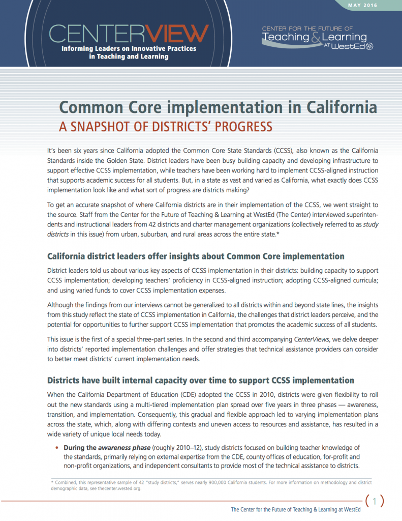 1463593813resourcecommoncoreimplementationincaliforniaasnapshotofdistrictsprogress
