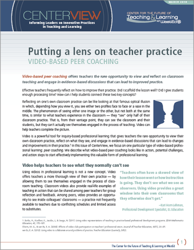 CenterView: Putting a Lens on Teacher Practice — Video-Based